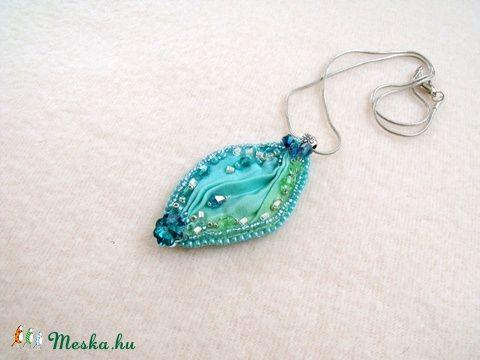 Meska - Türkiz shibori nyaklánc  papmelus kézművestől
