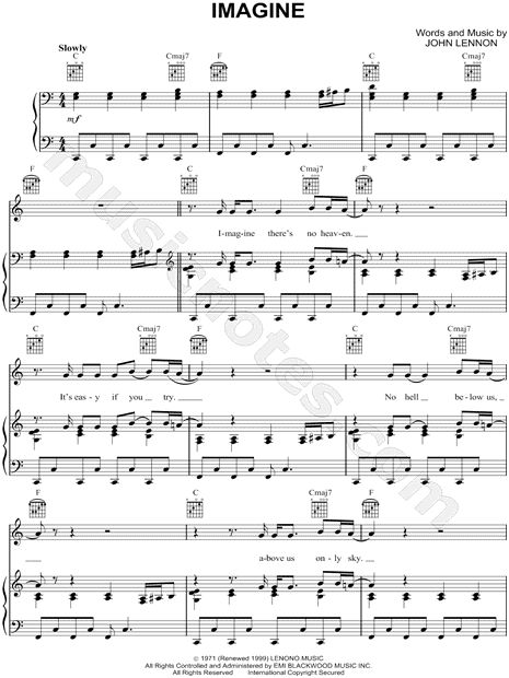 "John Lennon ""Imagine"" Sheet Music - Download & Print"