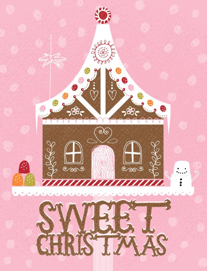 Zoe Ingram | Artist & Illustrator. Gingerbread house design with holiday greeting and pattern background.