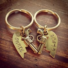 Brass Broken Heart Key Rings With Bonnie and Clyde on Etsy, $26.00 - You might have said a very difficult 'goodbye' that broke your heart ...however a new 'hello' will quickly mend your pain and happiness will find you sooner than you think ...go to http://www.psychicinstantmessaging.co.uk/pimpin9