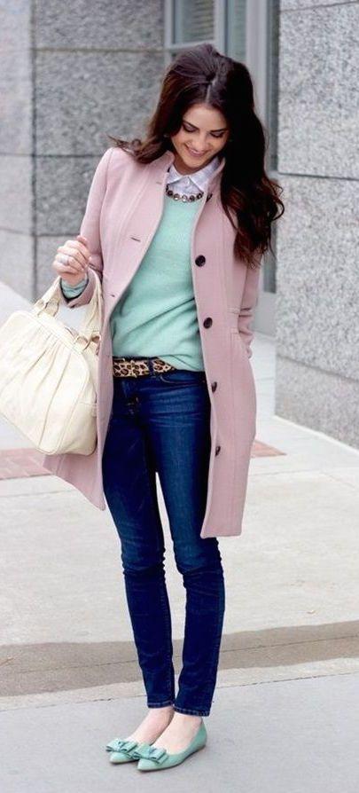 #winter #fashion / pink coat + mint knit