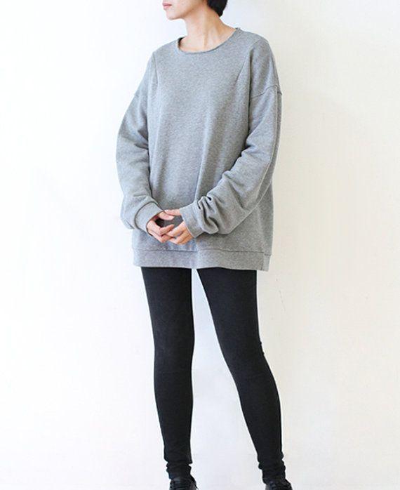 Black Gray Womens Sweater Tunic Cotton thicken Top Casu by lanbao