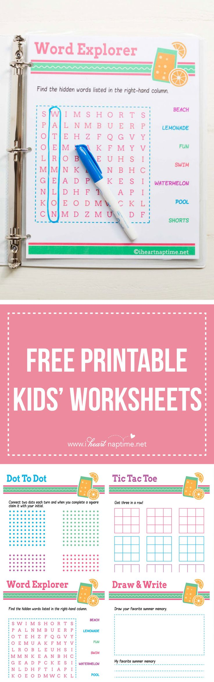 FREE PRINTABLE kids' worksheets ...perfect for putting in a binder for road trips!