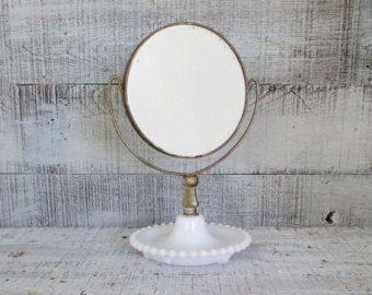 Mirrror Vintage Milk Glass Vanity Mirror Antique Shaving Mirror Magnifier Tilting Mirror Mid Century Vanity Mirror Stand Milk Glass Hobnail