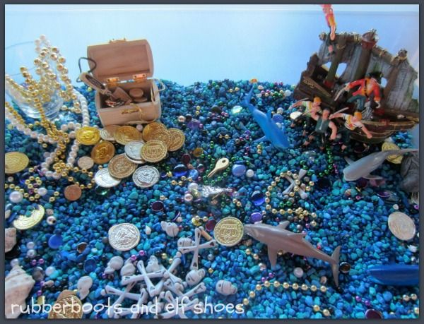 Cool ideas for ocean and pirate themed sensory bins, and also a fun blog about all things preschool!