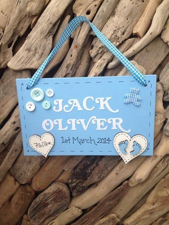 Personalised Newborn Baby Boy Plaque Christening Gift Keepsake Name Weight Sign