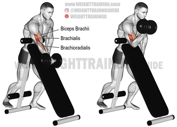 Standing dumbbell preacher curl. An isolation exercise. Target muscle: Brachialis. Synergists: Biceps Brachii and Brachioradialis.