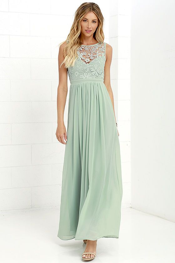 Go one step beyond the dress of your dreams and you'll find the So Far Gown Sage Green Lace Maxi Dress! A lovely crocheted lace yoke forms a sweetheart silhouette atop a lightly padded bodice with darted detail. Dreamy chiffon takes over at the banded waist to fall into a showstopping maxi skirt. Three hook clasps join above the open back. Hidden back zipper with clasp.