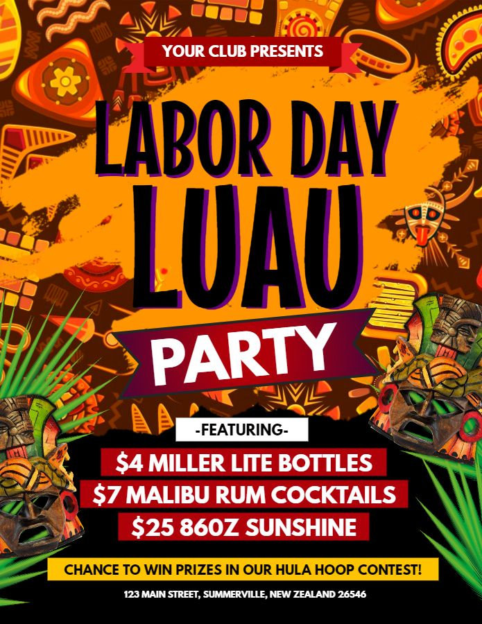 Labor day Luau party flyer poster template Luau Party Flyers