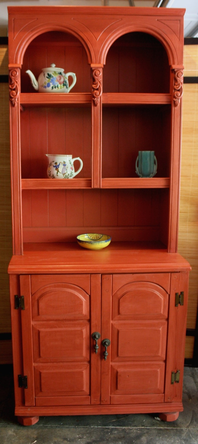 Country French Farmhouse Vintage Red Hutch Display Shelf with Cabinet for Kitchen Dining Den. $495.00, via Etsy.