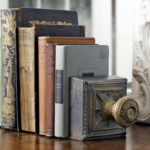 door knob bookend - i would hang it on wall for my son's hat!