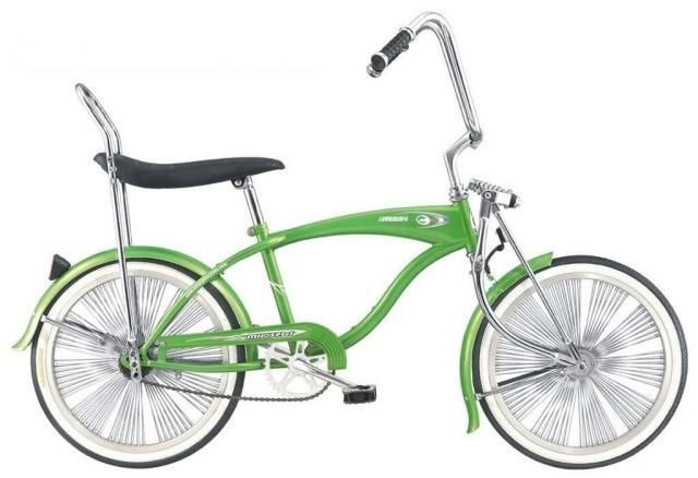 Boys GREEN Micargi LOWRIDER F4 20-Inch Bicycle Bike Banana Seat New Free Ship. Featuring sweet high riser bars, a classic banana seat and full fenders, this cool low rider boys' bike will delight your cyclist. On Sale at ebay for $207.99 delivered. #Micargi #MicargiBikes #dealarue