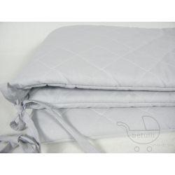 Ochraniacz do łóżeczka, Pikowany, Pastelowy, szary, osłonka na łóżeczko,
