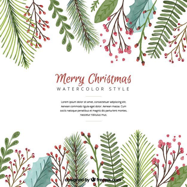 水彩画の葉とクリスマスの背景 無料ベクター