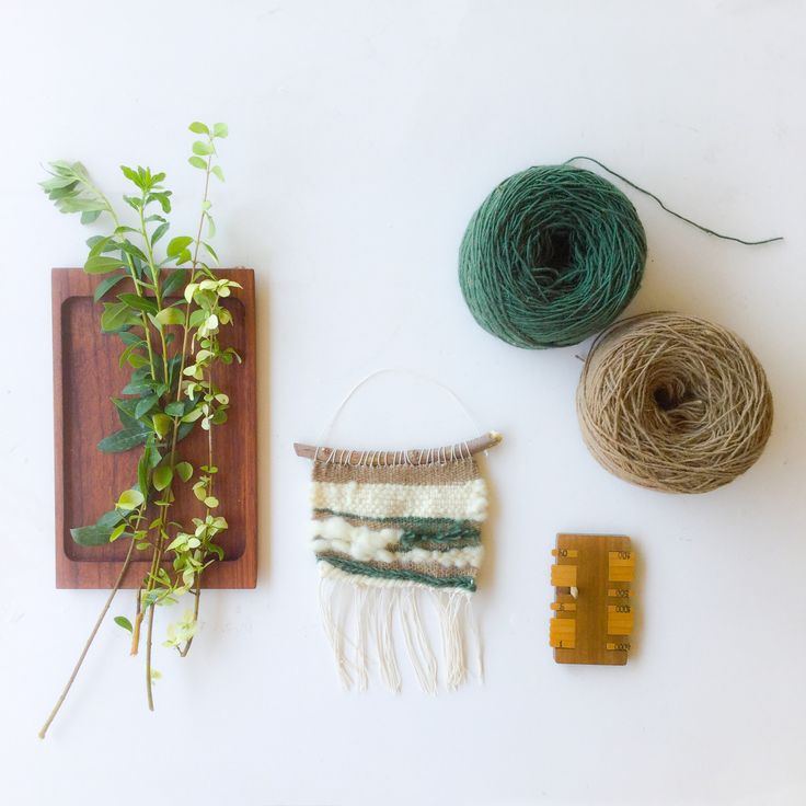 Mini weaving wall hanging made with natural wool fibers