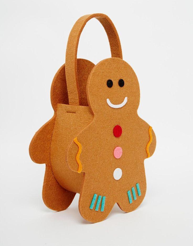 Image 2 - Paperchase - Sac cadeau en feutre motif bonhomme en pain d'épices