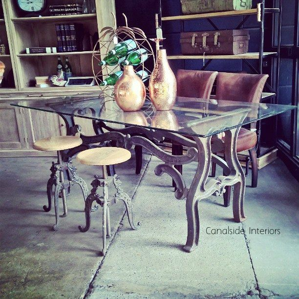 *Hobbs Industrial Dining Table with Glass Top - Canalside Interiors
