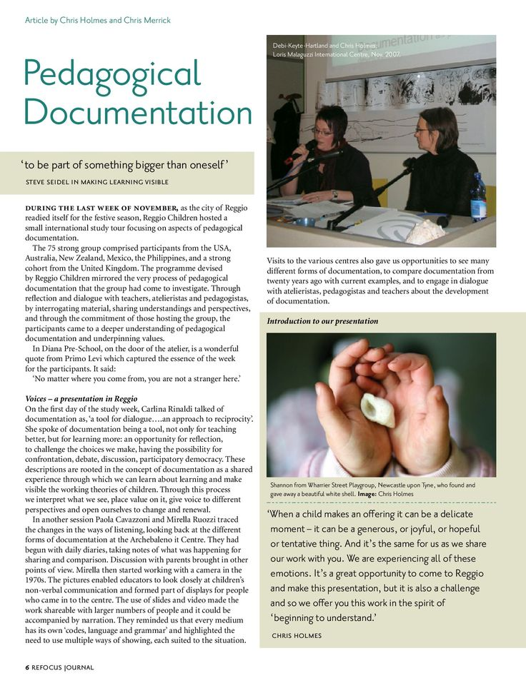 Pedagogical Documentation. Article by Chris Holmes and Chris Merrick http://www.sightlines-initiative.com/images/Library/research/pedagogical%20documentation.pdf
