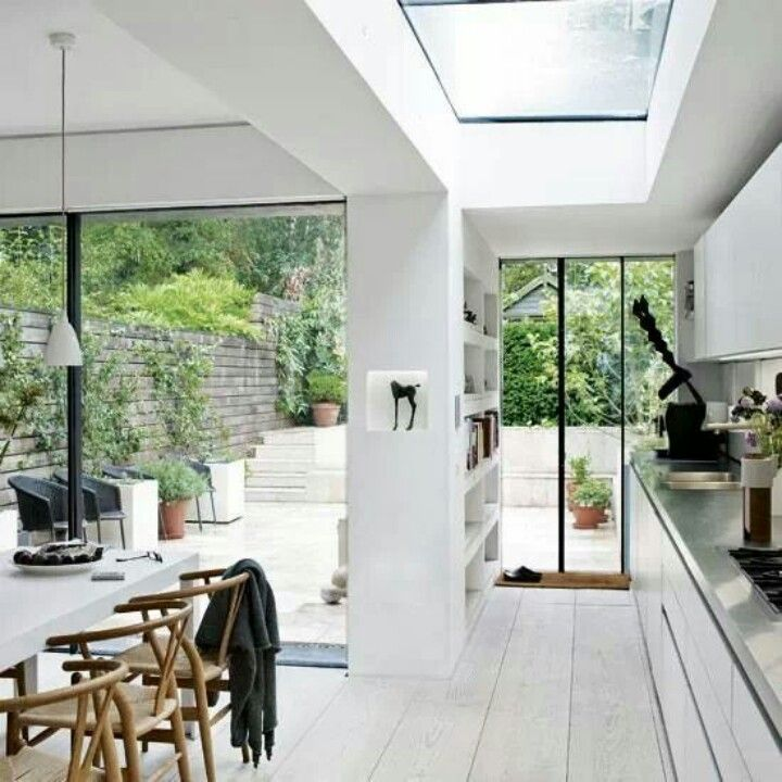 Open Plan Kitchen Extension On Victorian Terrace Sky Lights And Bifold Doors Onto Same Level