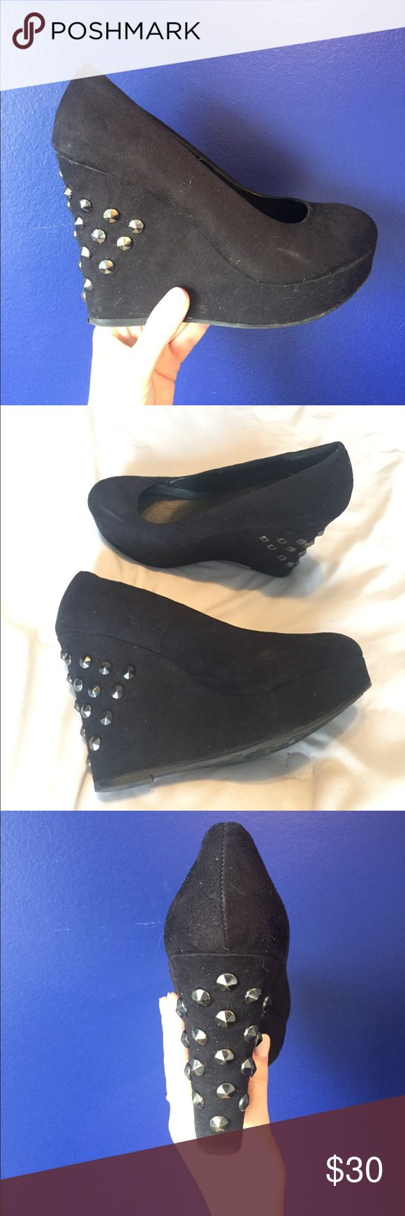 Kardashian Kollection black studded wedges Kardashian Kollection black pewter studded wedges. Loved, but still in good condition. Suede material. Fits 8-8.5. Small scuffs on toes as depicted. Super cute!! Kardashian Kollection Shoes Wedges