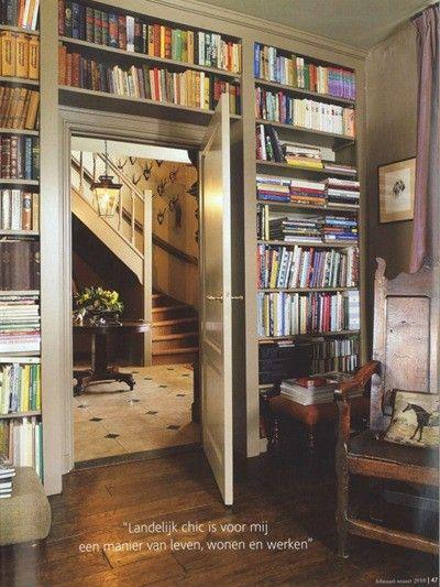 built-in bookshelves around door