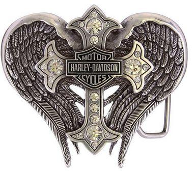 Harley-Davidson Women's Back Roads Cross Winged Belt Buckle