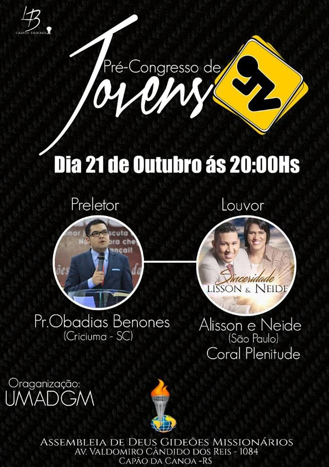 Gideões Canguçu/RS: PRÉ CONGRESSO DE JOVENS DE CAPÃO DA CANOA RS