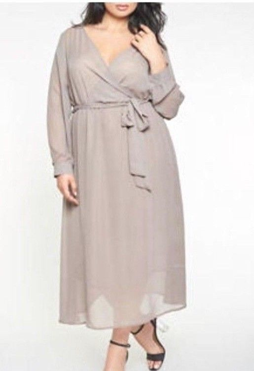 06d70cd2e78 Women s Plus Size Faux Wrap Chiffon Maxi Dress Solid Warm Beige 3X   Privatelabel  GownMaxiDressWrapDress  PartyCocktail
