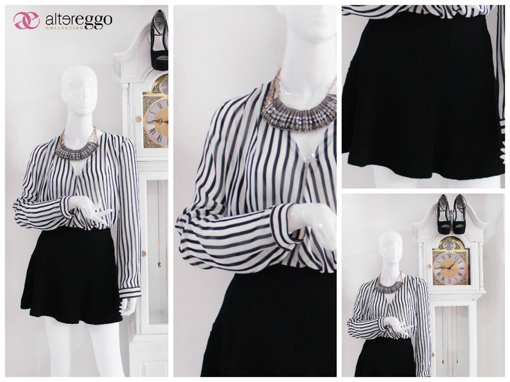#moda #fashion #otoño #invierno #2014 #nueva #temporada #nueva #coleccion #NewCollection #moda #para #chicas #blusa #rayas #lineas #falda #skate #collar #antimonio
