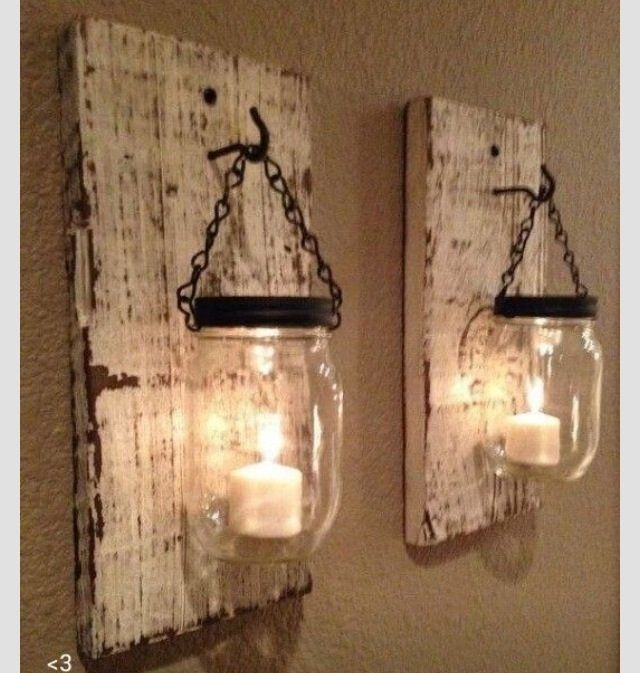 rustic barn wood mason jar candle holders set of 2 - Country Decorations