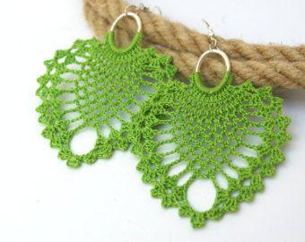 Crochet earrings diamond shape with hanging beads