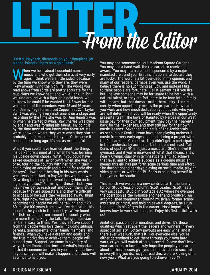 Regional Musician Magazine January 2014, Letter from the Editor, Greg McNair