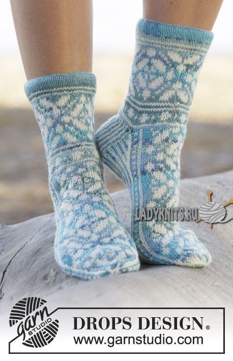 """Вязаные спицами красивые носки """"Магия льда"""" от Дропс"""