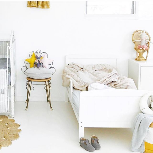 Holidays are for messy beds.. this one captured in our last styling session by @concretehoney . Hope youre enjoying the last week of the school hols  or are you counting down the days to school . . . Im enjoying my break but look forward to some studio days very soon and sharing with you some new looks. . . #littlewillowvintage #starpillow #kidsinteriors