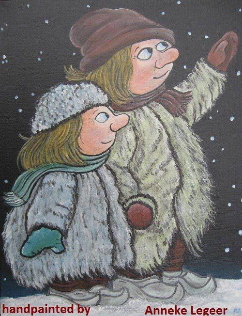 """""""Stjärnnatt """", handpainted by Anneke Legeer, the Netherlands,naar voorbeeld van Rolf Lidberg"""