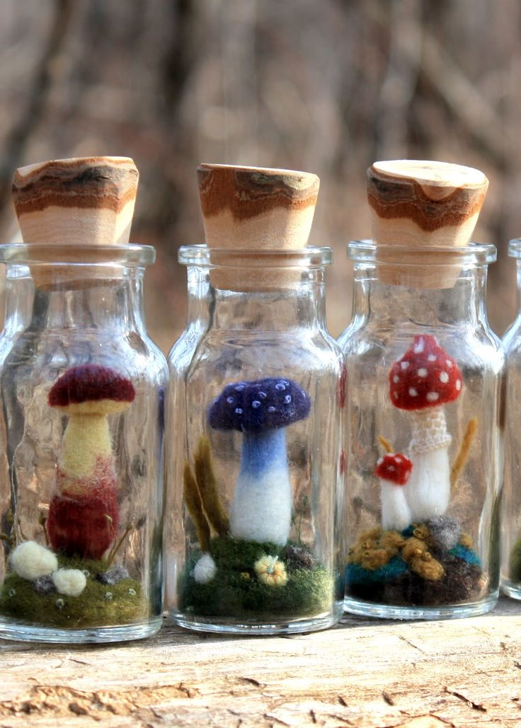 Felted Mushrooms in Spice Bottles Could be use in party bags for a fairy party