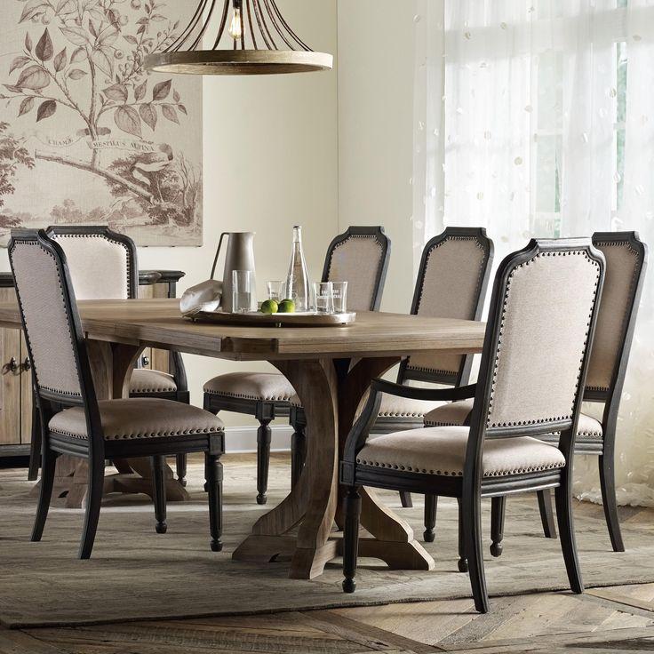 my new dining room set corsica rectangle pedestal dining table set by hooker furniture. Black Bedroom Furniture Sets. Home Design Ideas