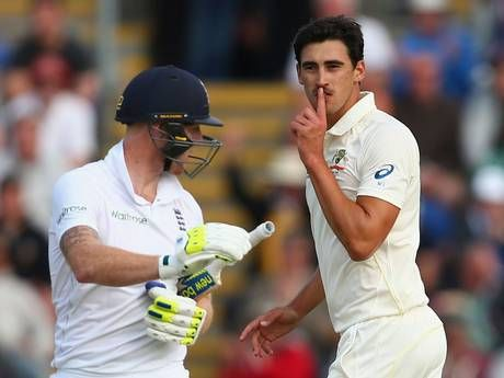 Mitchell Starc goads Ben Stokes after taking the wicket of the Englishman