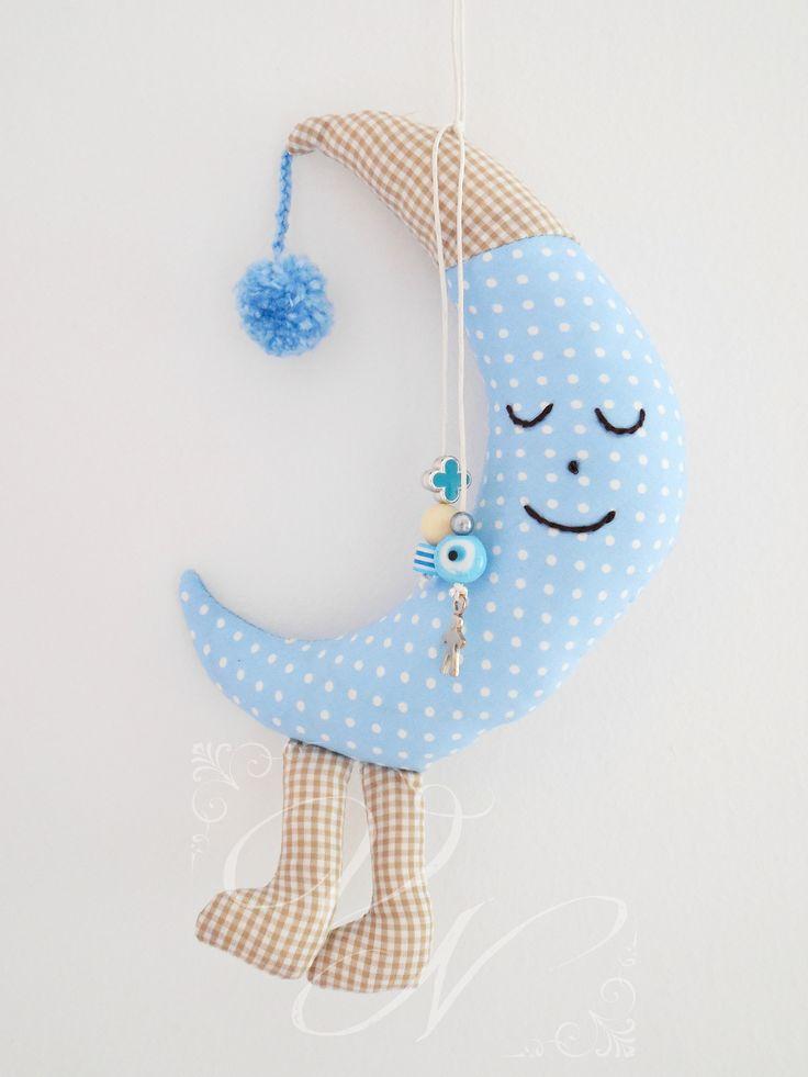 Χειροποίητο υφασμάτινο φυλαχτό για νεογέννητα μωράκια (22 cm × 13 cm) - Handmade fabric lucky charm for newborn babies
