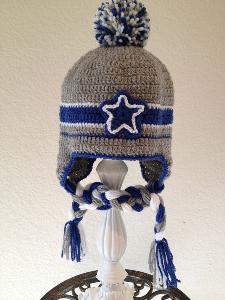 Dallas Cowboys inspired baby hat, earflapped, tassel, blue, gray white, sports football, pompom. Please include SIZE in order.. $25.00, via Etsy.