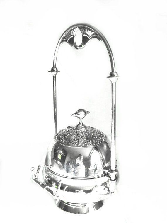 Antique Silver Butter Dish  Art Nouveau by DecoDazeFineVintage