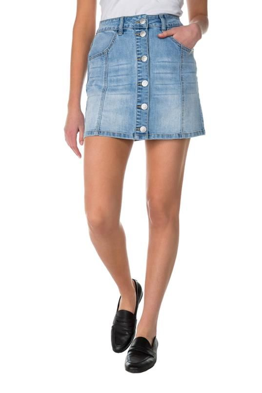 ed1b081b32d Almost Famous Light Wash Skirt with Buttons in 2019