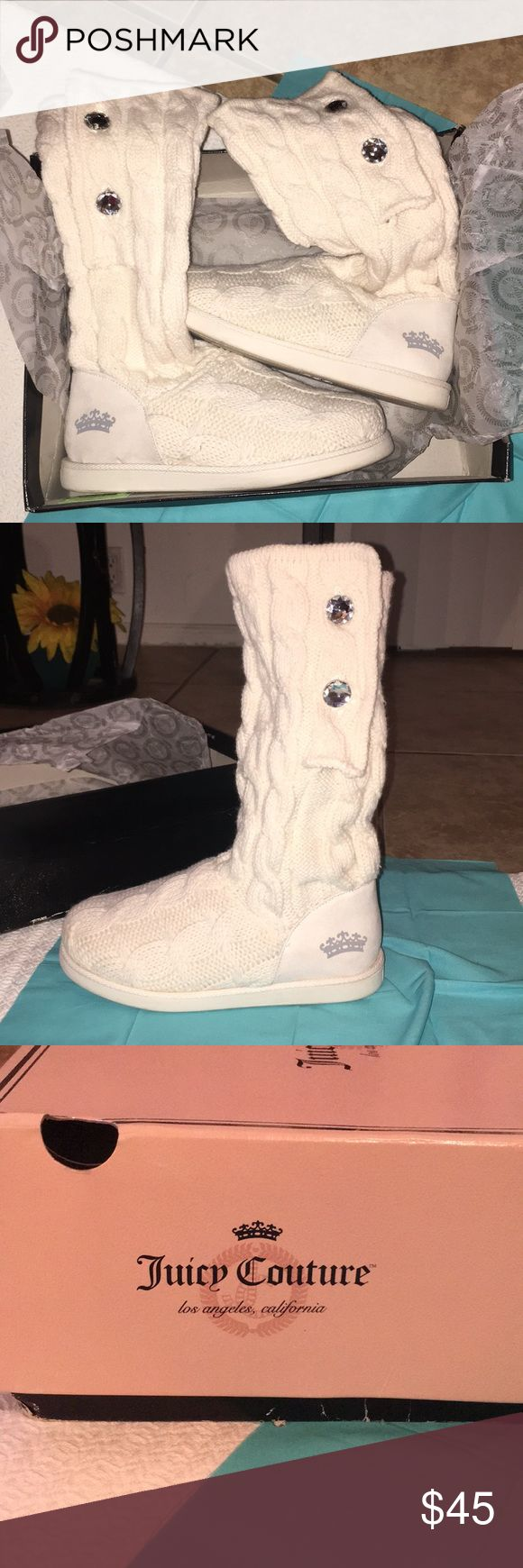 Juicy Couture Boots White Juicy Couture Boots with clear studs on the outside of each boot. Worn maybe 3 times If that. Comes with box. Soft material. Zero dirt or stains. Juicy Couture Shoes Winter & Rain Boots