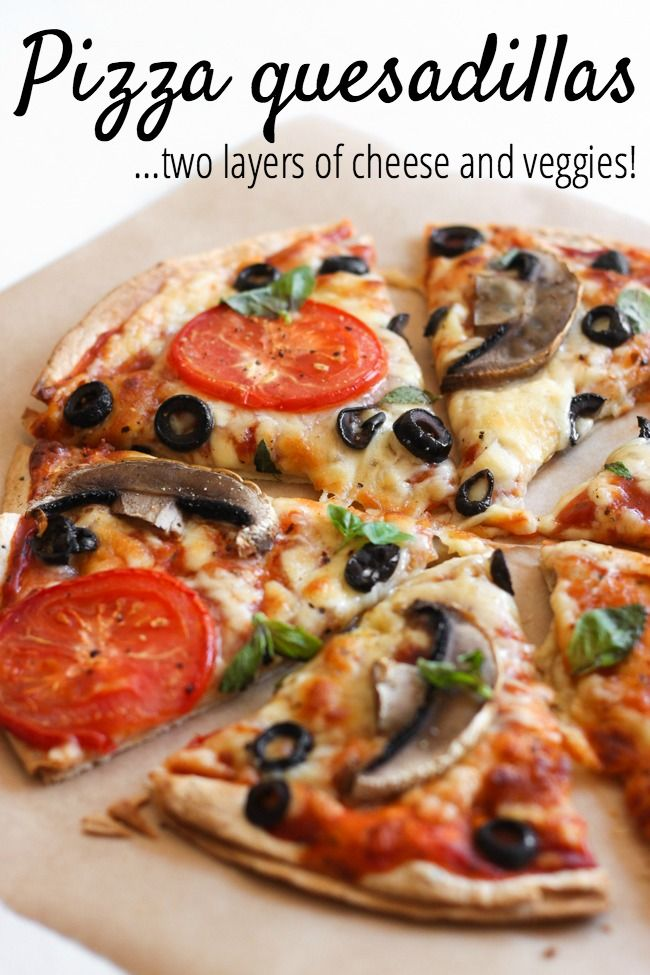 Pizza quesadillas - an easy way to get TWO layers of cheese and veggies into your thin crust pizza!