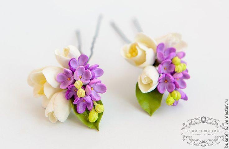 Купить Шпилька для прически - цветы из полимерной глины, цветы из глины, цветы ручной работы