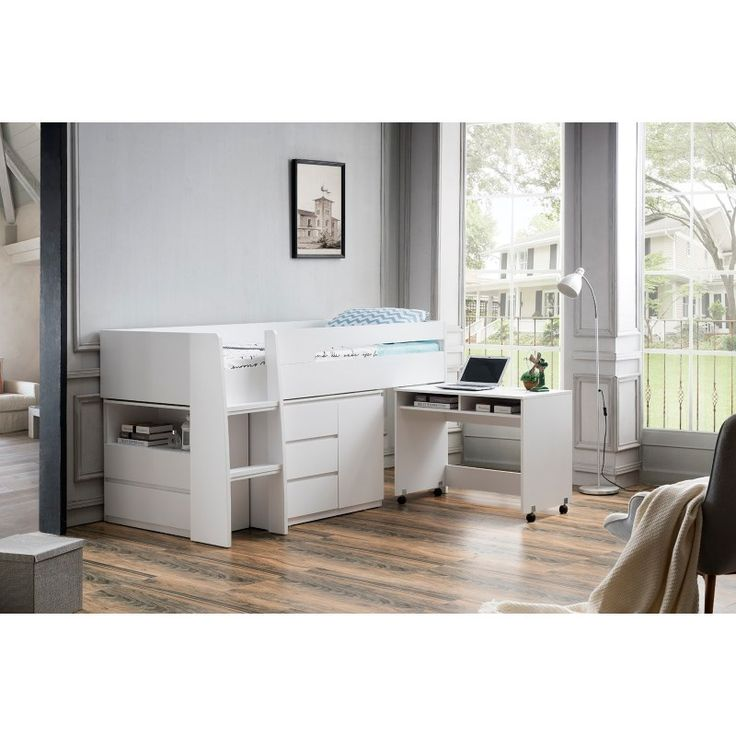 Best King Single Loft Bed With Desk And Storage In White In 400 x 300