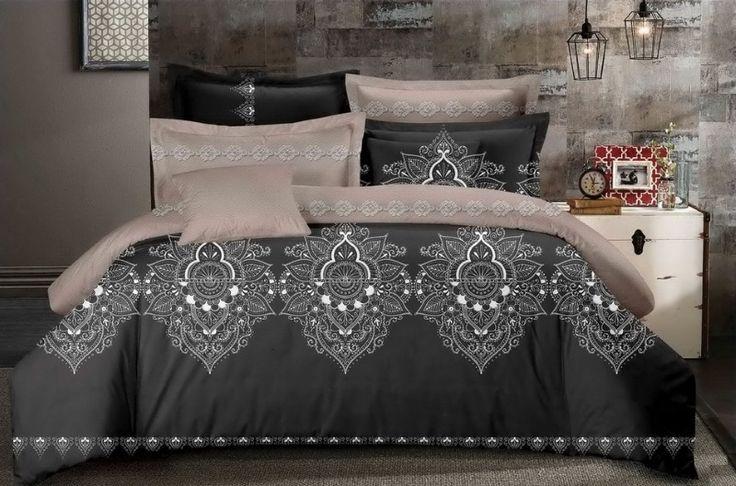 Béžovo sivé posteľné obliečky s bielym ornamentom