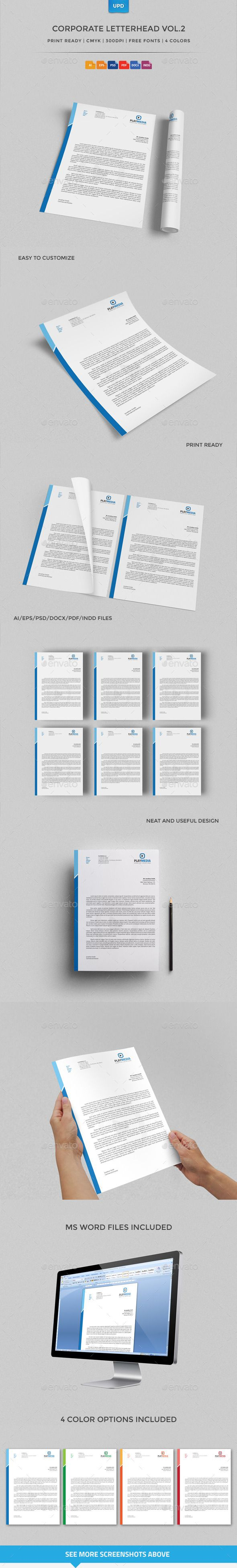 Corporate Letterhead Vol.2 with MS Word Doc Corporate Letterhead designed in 4 different color schemes with stylish design elements. You can easily change the logo, contact information and color of the element itself in just 1 click. Corporate Letterhead can be used absolutely any company or for personal use.