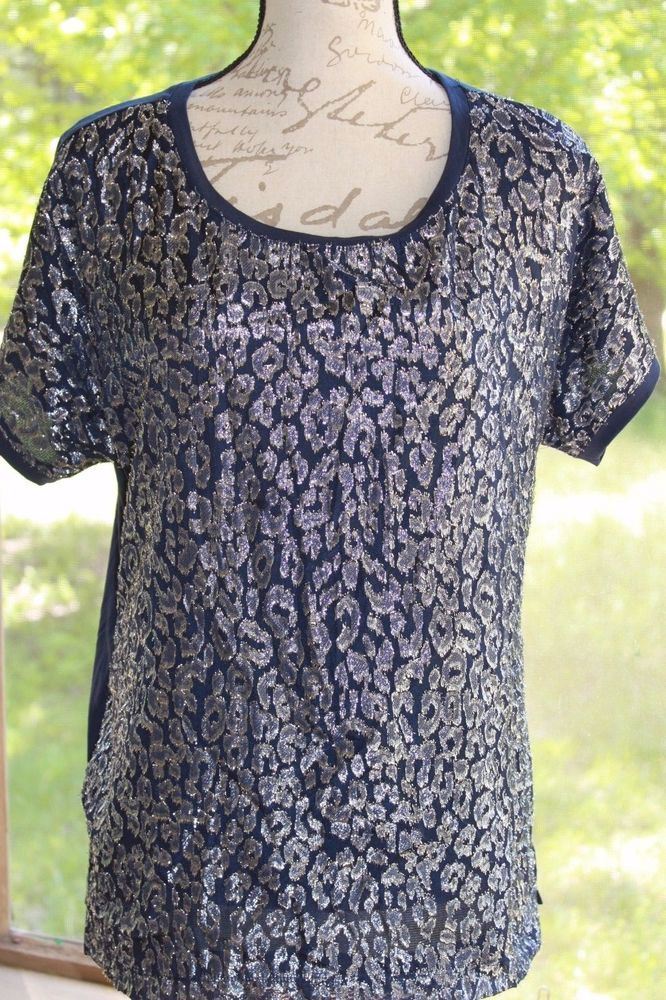 CHICO'S ZENERGY NWT SHINE LEOPARD KINGS NAVY & SILVER SHORT SLEEVE TOP SIZE 1 #Chicos #Blouse