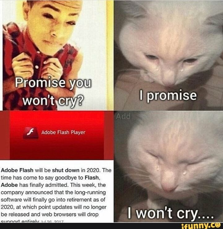 Adobe Flash Will Be Shut Down In 2020 The Txme Has Come To Say Goodbye To Flash Adobe Has Finally Admitted This Week The Company Announced That Ihe Longrrun Funny Relatable